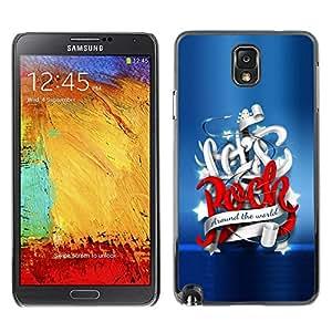 Carcasa Funda Prima Delgada SLIM Casa Case Bandera Cover Shell para Samsung Note 3 N9000 N9002 N9005 / Business Style Let's Rock Around The World