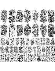 49 ark Svarta blommor Djurkollektion Damer och flickor Vattentäta Tillfälliga falska tatueringar Klistermärken (14 halvarm och 35 små)