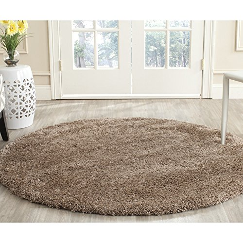 Safavieh Milan Shag Collection SG180-1414 Dark Beige Round Area Rug (7' Diameter) - Beige 7' Round Area Rug