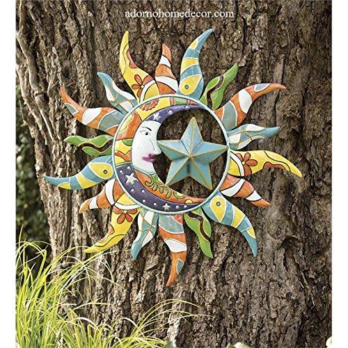Metal Colorful Moon Sun Stars Decor Garden Indoor Outdoor