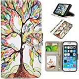 iPhone SE Case, UrSpeedtekLive iPhone SE Wallet Case, Premium PU Leather Funny Case Flip Cover with Card Slots & Stand For iPhone 5/5S/SE, Life Tree Pattern