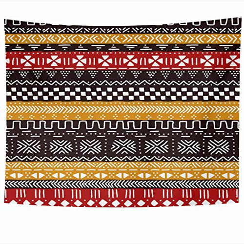 (AlliuCoo Wall Tapestries 80 x 60 Inches Brown Geo Black Red Yellow White Traditional African Mudcloth Colorful Mud Tribal Home Decor Wall Hanging Tapestry Living Room Dorm)