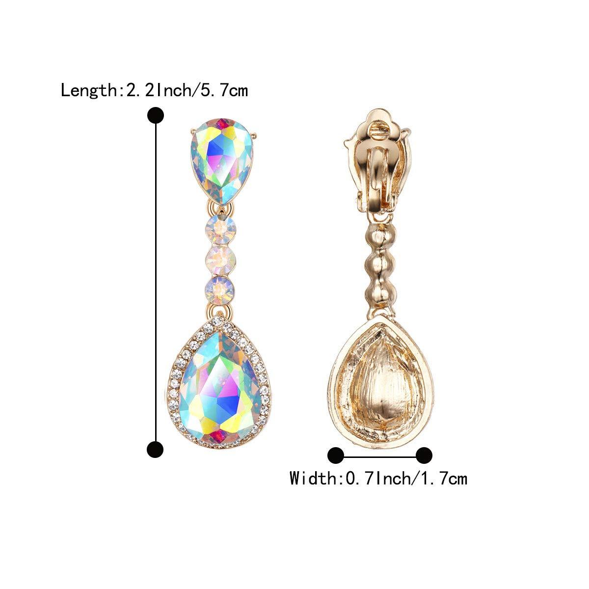 BriLove Womens Fashion Wedding Bridal Crystal Teardrop Romantic Dangle Clip-On Earrings