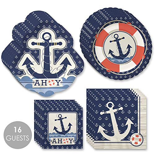 Big Dot of Happiness Ahoy Nautical - Party Tableware Plates, Napkins - Bundle for 16 -