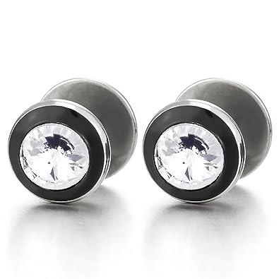 CA Steel Fake Ear Plugs Gauges Tunnel Mens Women Black Steel Circle Stud Earrings with Black Enamel