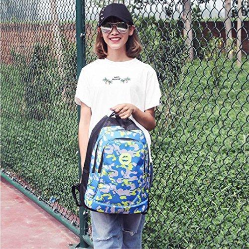 Clode® Chicos chicas estudiantes camuflaje impermeable escuela mochila Azul claro