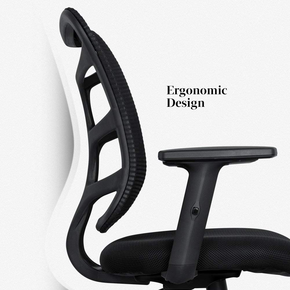 Smugdesk 0581F Ergonomic Office Mesh Computer Desk Swivel Task Chair with Adjustable Armrests, Standard Size, Black