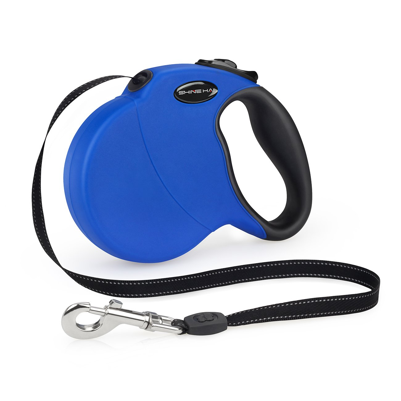 SHINE HAI Retractable Dog Leash, 16ft Dog Walking Leash for Large Medium Small Dog Up to 110lbs, Break & Lock System, Reflective Ribbon Cord, Blue