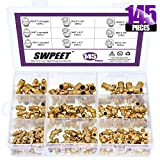 Swpeet 145Pcs Grease Fittings Assortment Kit, Brass Zerk Grease Nipple Fittings Perfect for Excavators
