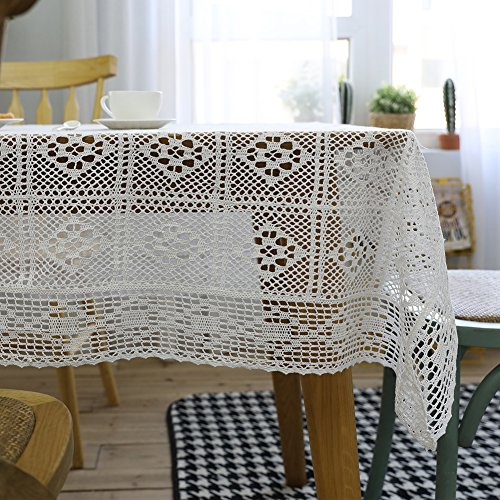 ColorBird Vintage Handmade Crochet Diamond Tablecloth Decorative Macrame Lace Table Cover Layer for Kitchen Dinning Pub Bedside Tabletop Sheet Decoration (Rectangle/Oblong, 55 x 86 Inch, White)