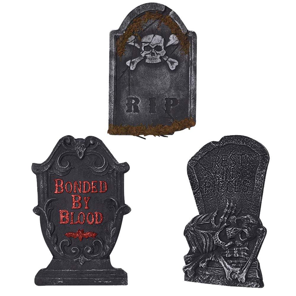 Tama/ño Grande Halloween Ligero Cementerio Jard/ín Tumbas Decoraci/ón de Escena Accesorios de Fotograf/ía,A BAIVIT Paquete de 3 L/ápidas de Espuma