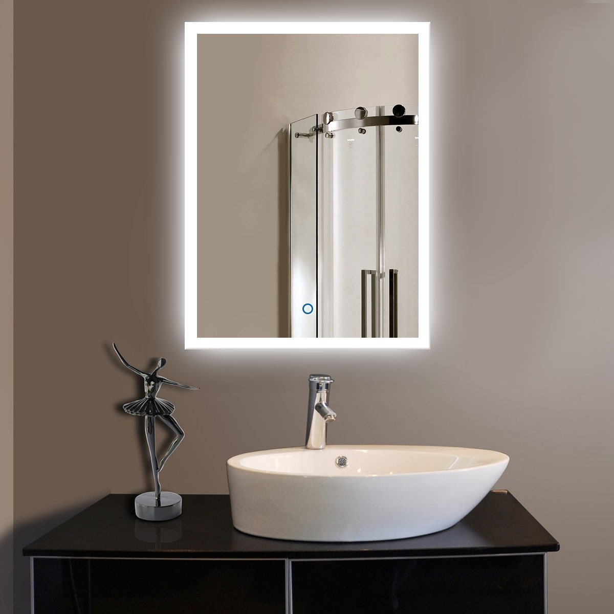DECORAPORT 24 Inch * 32 Inch Vertical LED Wall Mounted Lighted Vanity Bathroom Silvered Mirror with Touch Button (A-N031)