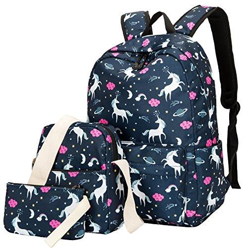 BLUBOON Teens Backpack Set Girls School Bags Kids Laptop Bookbags (Blue-T02)