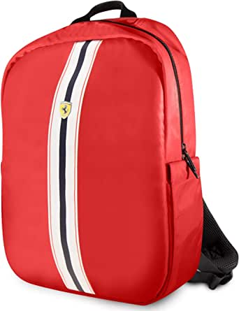 """Ferrari Pista Metal Logo On Track Backpack 15"""" with Charging Cable - Red"""