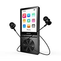 Lettore MP3 Bluetooth 4.0 Lettore MP3 con Radio FM, 16 GB Registratore Vocale MP3 Player con Schermo 2.4'' TFT Fascia Espandibile fino a 128 GB