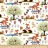 Robert Kaufman Bright Eyed and Bushy Tailed Large Forest Animals Cream Fabric By The Yard