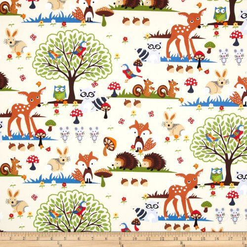 Bright Eyed and Bushy Tailed Large Forest Animals Cream Fabric by the Yard