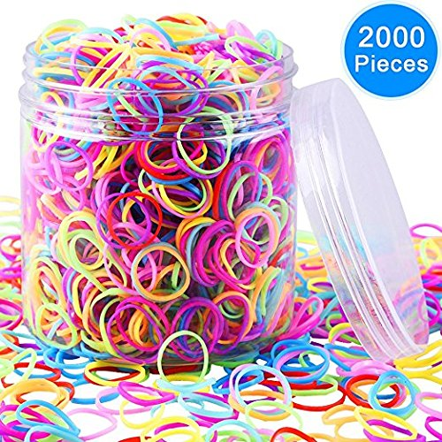 EAONE 2000 Pieces Multi-color Rubber Bands Small Candy Color Hair Bands Hair Elastic with Free Box for Baby Girls ()