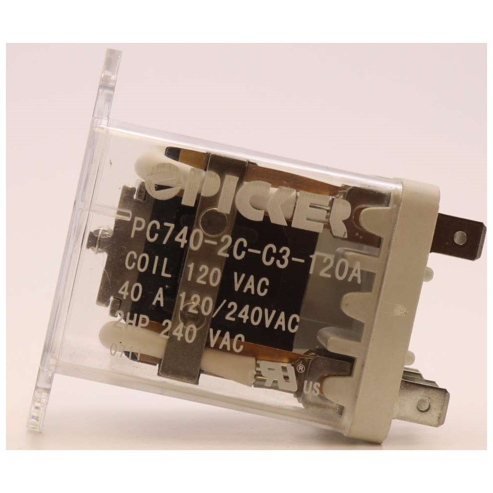 PC740-2C-C3-120A | DPDT 120 AC Coil 40 Amp 250 VAC UL Rated, 2 Pole Ice Cube Power Relay with Top Flange