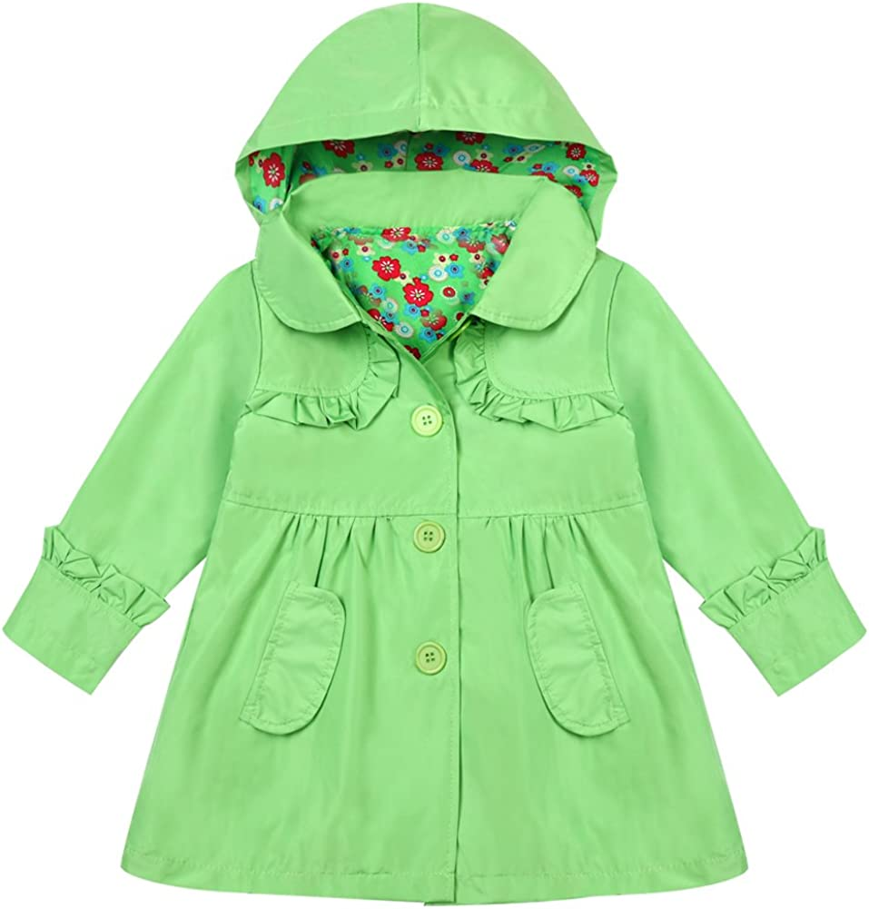 LZH Kids Girls Rain Jacket Waterproof Raincoat Hooded Outwear