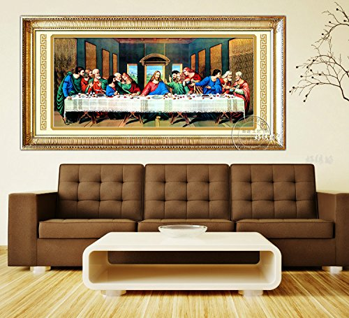 Faraway The Last Supper Jesus Full Round diamond Painting DIY 5D Mosaic Kits Embroidery Rhinestone Painting for Wall Decor 104x50 cm