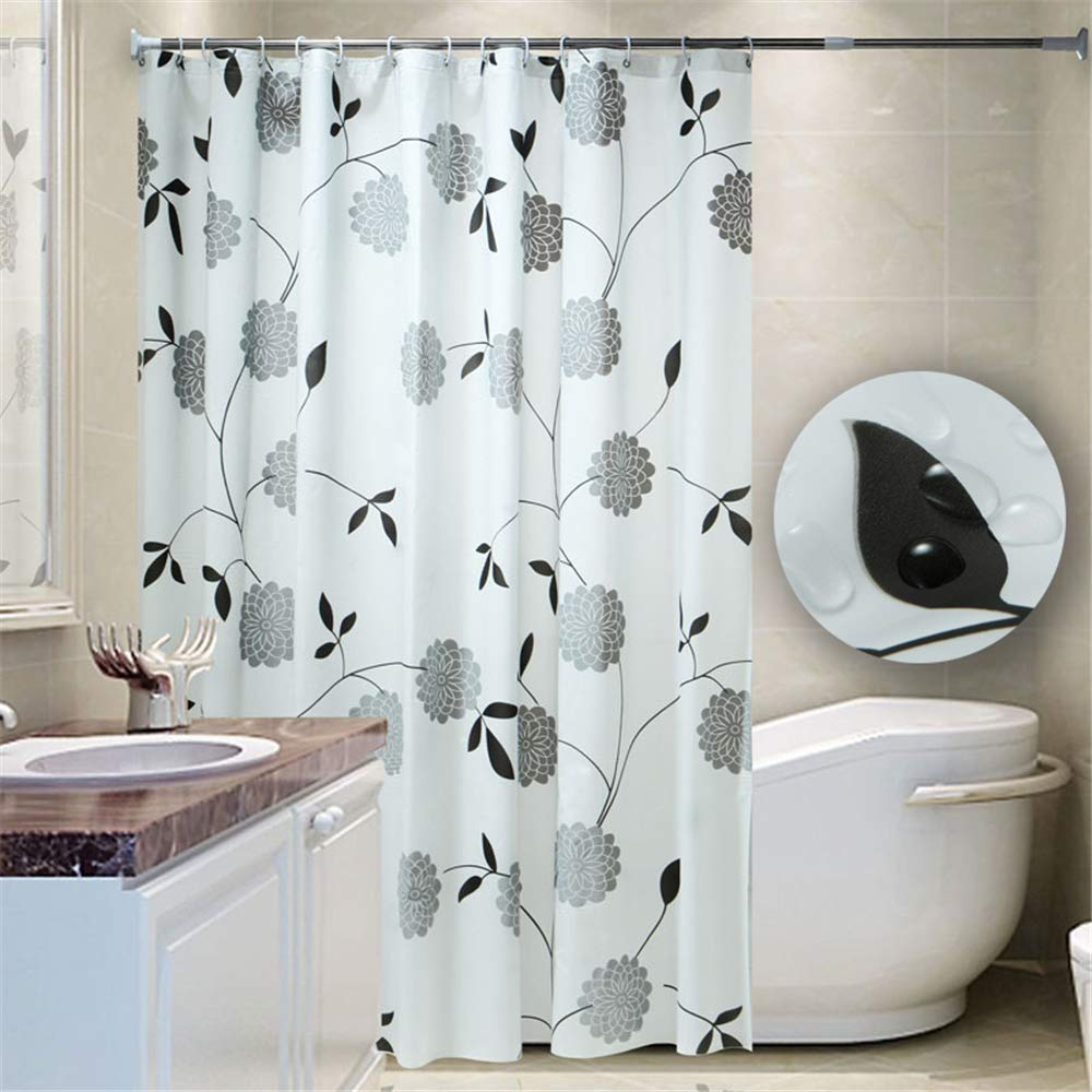 Yuclock PEVA Shower Curtain Thick Waterproof and Moisture-Proof Partition Curtain, Black Leaf Flower, 180X200cm, Include Hook