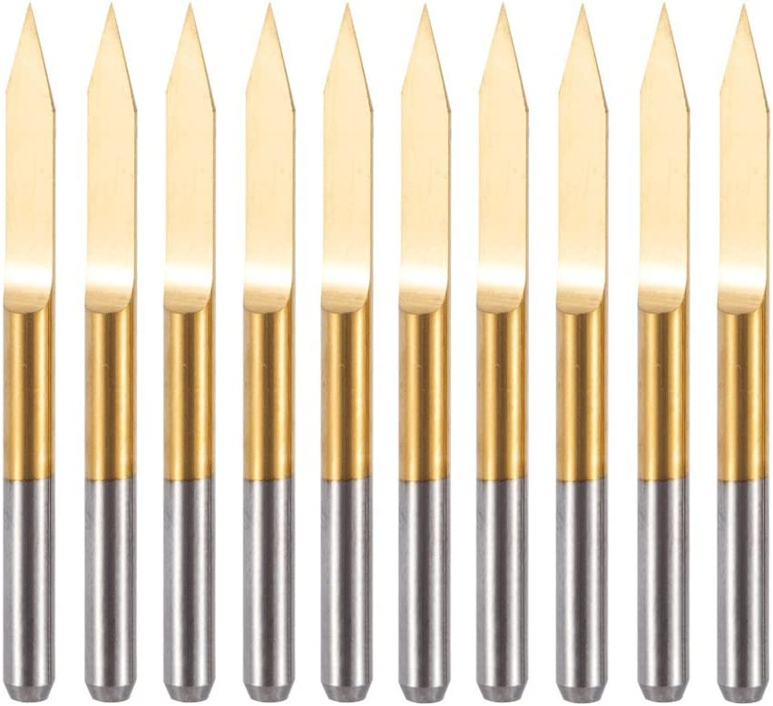 HUHAO CNC Router Bit 1//8 Inch Shank 10degree 0.1mm Tip Tungsten Steel Engraving V Bit Woodworking 10PCS