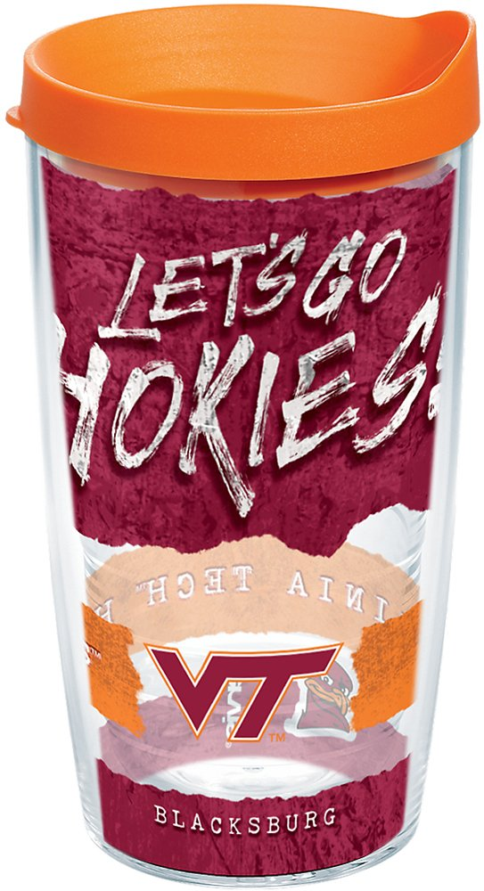 Tervis 1251557 Virginia Tech Hokies College Statement Insulated Tumbler with Wrap and Orange Lid, 16oz, Clear