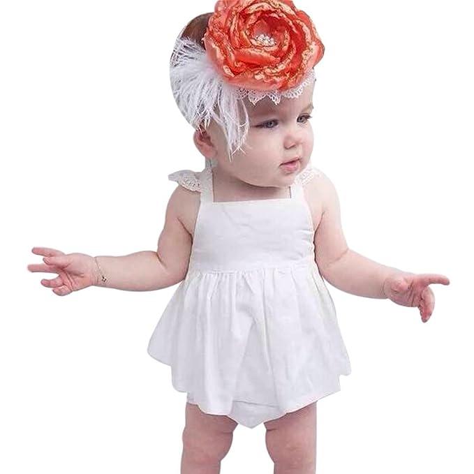 Amazon.com: pollyhb Juego de ropa de niña de bebé, verano ...