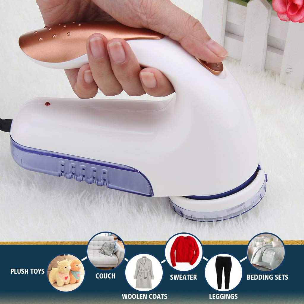 Baelor Electric Fuzz Lint Remover - Portable Fabric Pill Shaver and Effectively Sweater Defuzzer with Replaceable Stainless Steel Blade for Clothes, Furniture, Couch, Blanket, Curtain, Socks, Cashmere