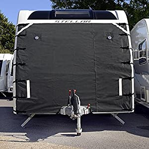 CARAVAN FRONT TOWING COVER CHIP PROTECTOR - UNIVERSAL WITH FREE LED LIGHTS - DARK GREY