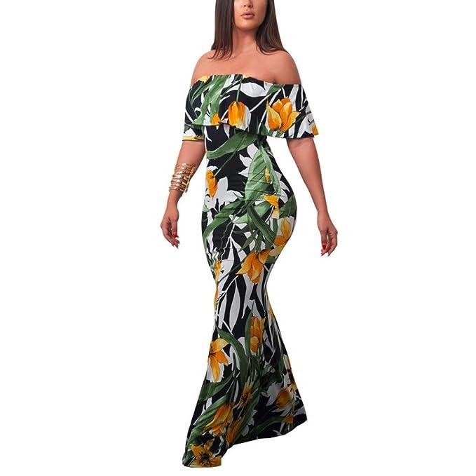 BeautyTop Vestito Donna Estate Abito Elegante Maxi Vestito da Principessa  Ragazza Spalla Nuda Stampa Vestiti Floreale Lungo Abiti da Sera Spiaggia   ... 8f9e73c2ba7