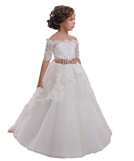 8b7a75191e Portsvy A-line Vestido largo de flor para boda y ocasión especial FB02