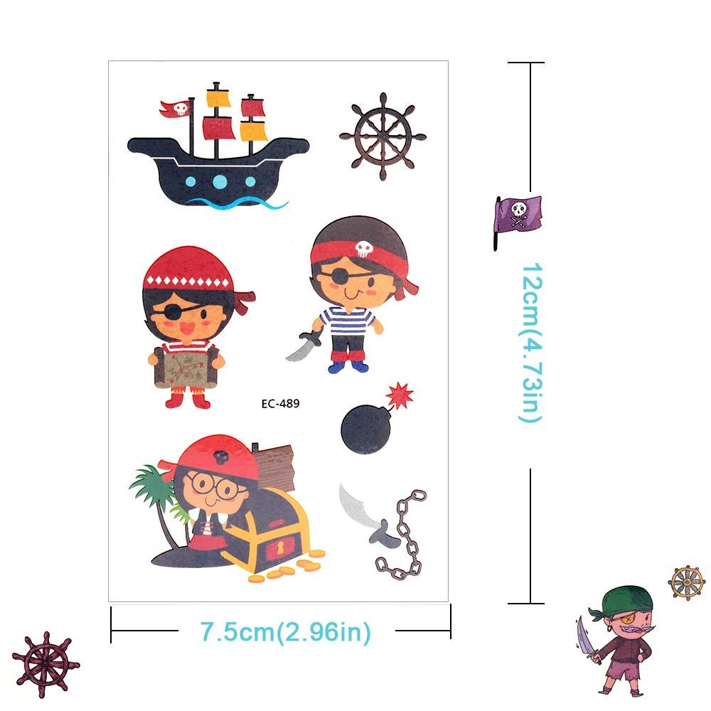 Anniversaire Pirate denfant Tatouages Eph/ém/ères Enfants Tatouages Temporaires de Pirate Motifs avec Accessoired de Pirate pour Filles Sporgo Tatouage Enfant Petit Cadeau Pinata