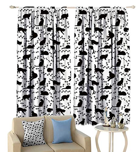 Greatdecor Cat Blackout Curtains Cat Silhouette and Animal Tracks Pattern Paws Footprints Kitties Different Poses Window Curtains Drapery for Living Room 55'' x 45'' Black and White