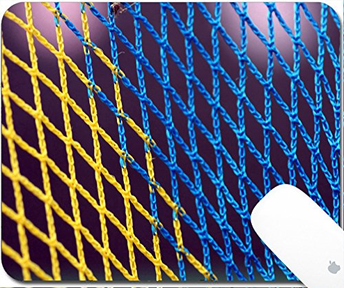 Luxlady Gaming Mousepad A closeup on a basketball net in blue and yellow 9.25in X 7.25in IMAGE: 2765272