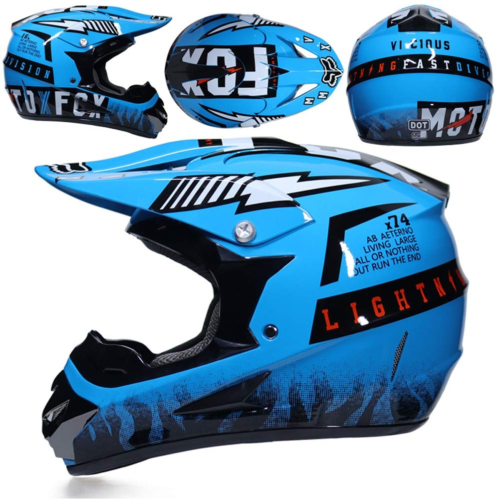 MT-57 Blau Motorradfahren Off-Road Motorradhelm mit Visier Brille Handschuhe Maske Motorrad Griffe Handyhalter per ATV BMX Moped Schneemobil QYTK/® Full Face Motocross Helm Enduro Set