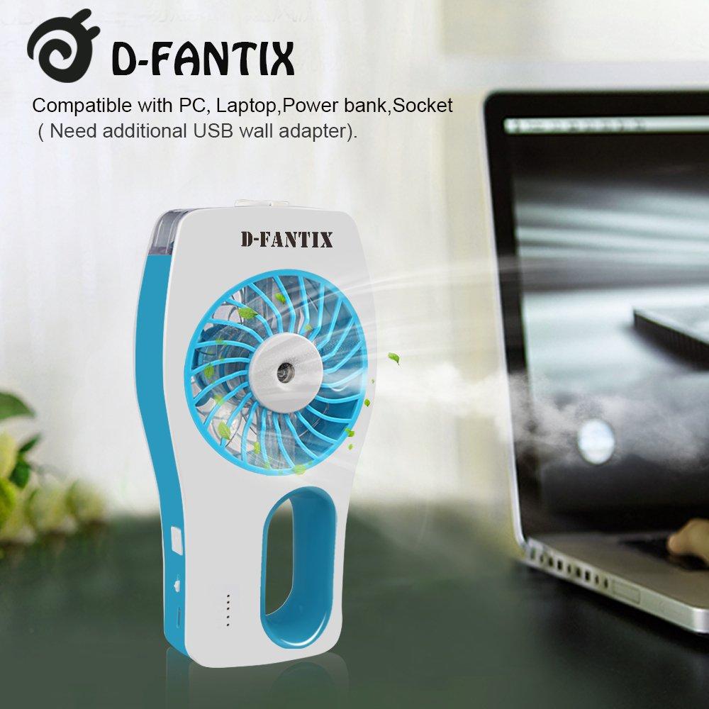 D-FantiX Ventilateur Portatif Portable Ventilateur /à eau Misting Humidificateur Personnel Ventilateur pour la Beaut/é la Maison le Bureau et les Voyages Bleu