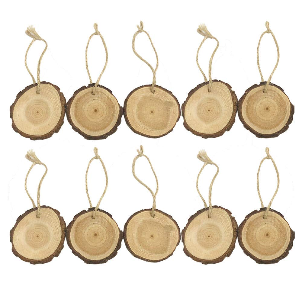 10Pcs DIY Christmas Wood Slices Craft Tags Hanging Party Home Office Wedding Decor Ornament Supplies (Multi)