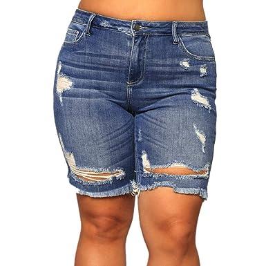 HCFKJ Vaqueros Mujer Cintura Alta Nuevos Pantalones Cortos ...