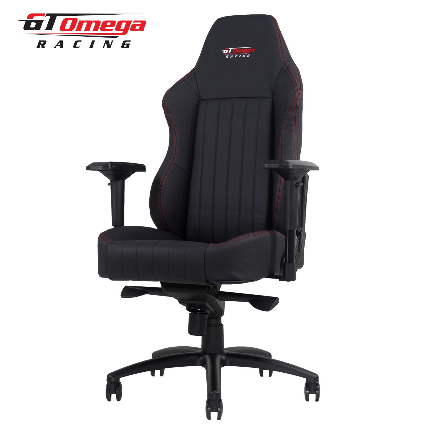 GT OMEGA EVO XL Racing Gaming Chair with Lumbar Support – Heavy Duty Ergonomic Office Desk Chair with 4D Adjustable Armrest Recliner – PVC Leather Esport Seat for Racing Console – Black