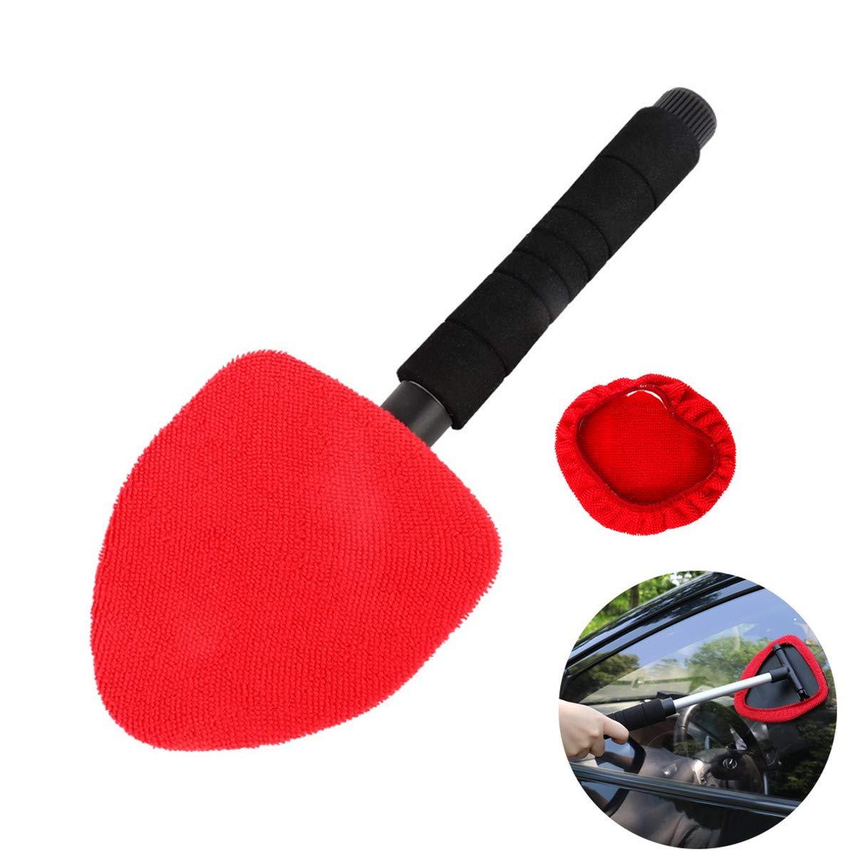 ACMEDE Auto Scheibenreiniger Innen Windschutzscheibe Reiniger Teleskopierbar mit 2 Reinigungspads Autoscheiben Reinigungsset