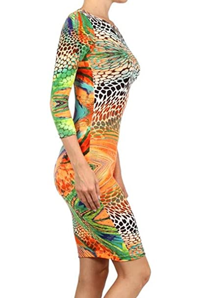 611d263f99e SurelyMine Womens Rainbow Animal Print Body-Con Dress With A Scoop Neck  Small Multi at Amazon Women s Clothing store