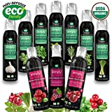 The Grand Collection (7 Assorted Simply Beyond Organic Spray-On Herbs Seasoning + 3 Organic Vinegars - Garlic, Basil, Oregano, Rosemary, Cilantro, Thyme, Lemongrass)+(Pomegranate, Cranberry, Balsamic)