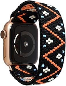 Tefeca Embroidery Polyline Pattern Elastic Compatible/Replacement Band for Apple Watch 42mm/44mm (Gold Adapters, M fits Wrist Size : 6.5-7.0 inch)