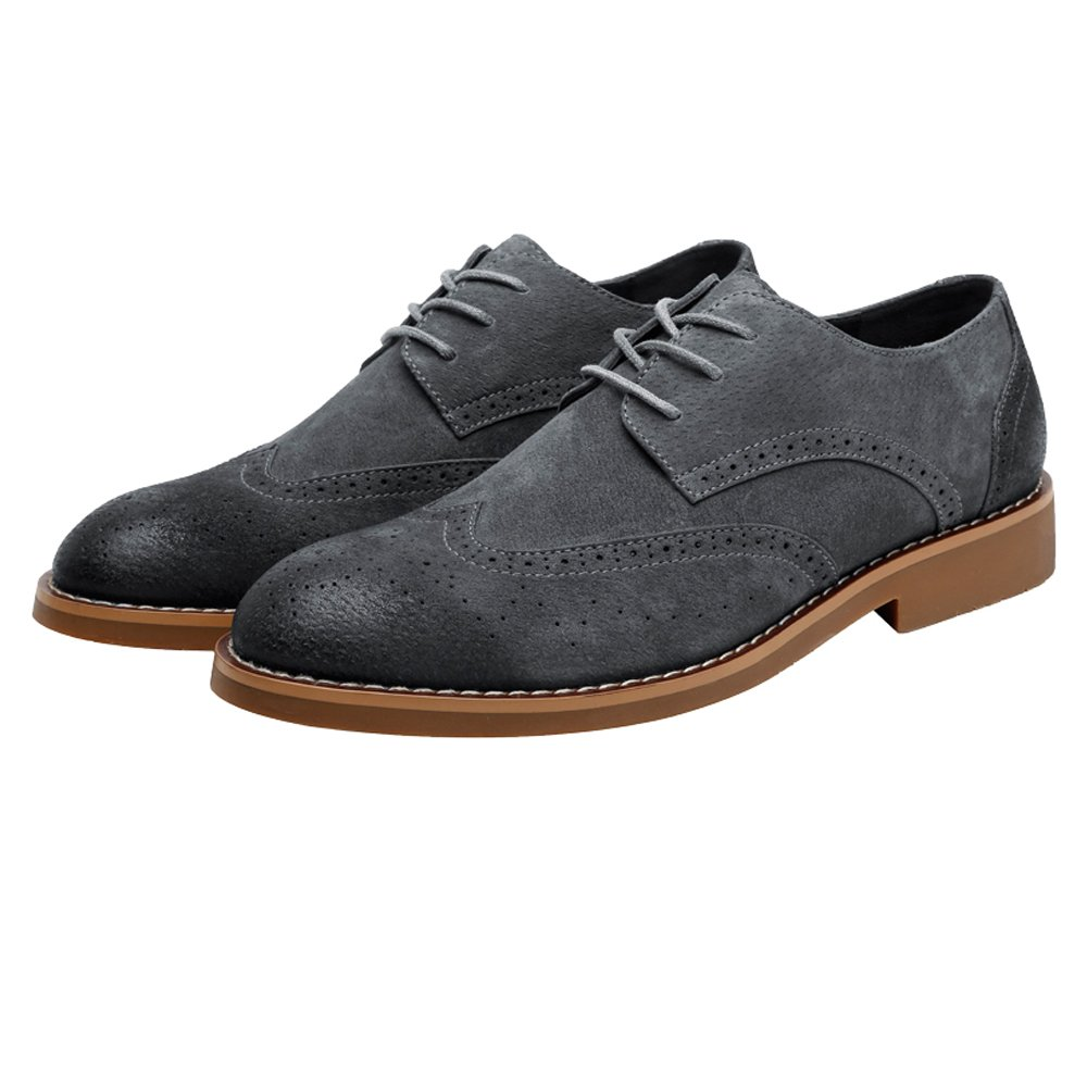 Hilotu Clearance Party Shoes Men's Classic Business Shoes Matte Breathable Hollow Carving Genuine Leather Lace Up Lined Oxfords (Suede Optional) (Color : Suede Gray, Size : 8 D(M) US)