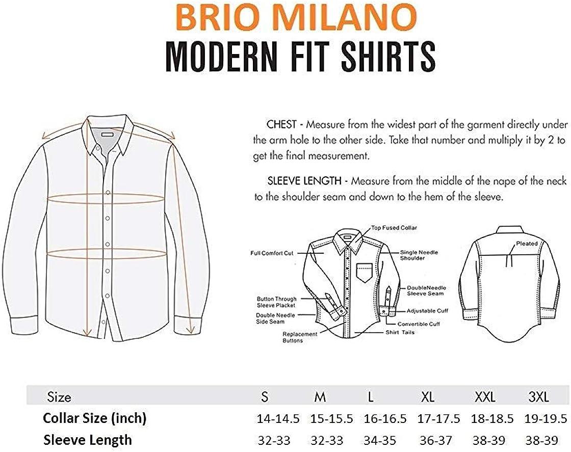 Brio Milano Mens Tailored fit Plaid Paisley Trim Buttoned Down Dress Shirt
