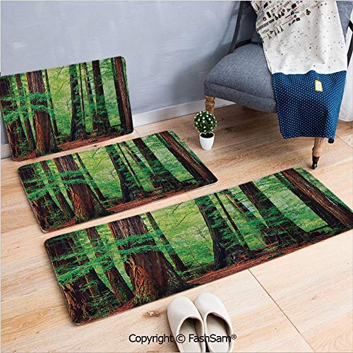 FashSam 3 Piece Flannel Bath Carpet Non Slip Redwood Trees Northwest Rain Forest Tropic Scenic Wild Nature Lush Branch Front Door Mats Rugs for Home(W15.7xL23.6 by W19.6xL31.5 by W17.7xL53)