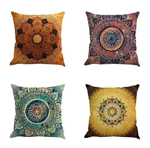 Ussuperstar Set of 4 Throw Pillow Covers Boho Compass Medallion Cushion Cover Throw Bright Floral Printed Pillow Case 18 X 18 Inch Pillowcase Shell(Boho 04)