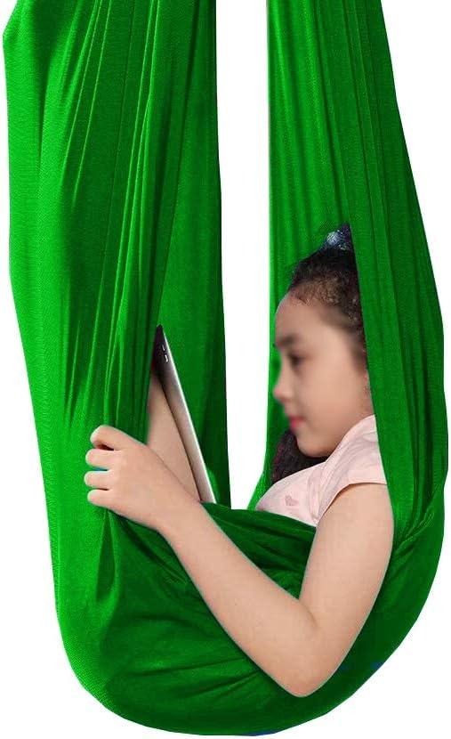 LHHL Niños Hamaca Interior Terapia Columpio Elástico Anti Gravedad Colgando Asiento por Niños por Autismo TDAH Asperger Y SPD (Color : Green, Size : 150 * 280CM/59 * 110in)